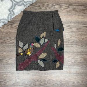 Anthro Floreat Bird Skirt Size 4